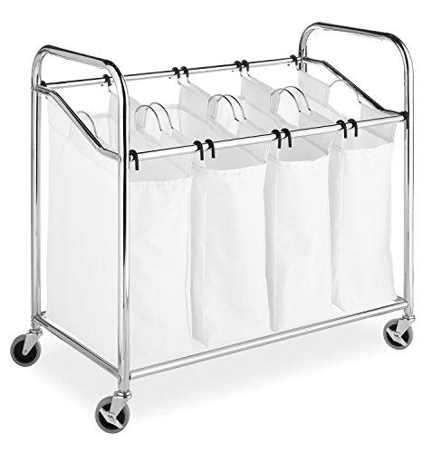 Whitmor 4-Section Laundry Bag Sorter, Chrome & White