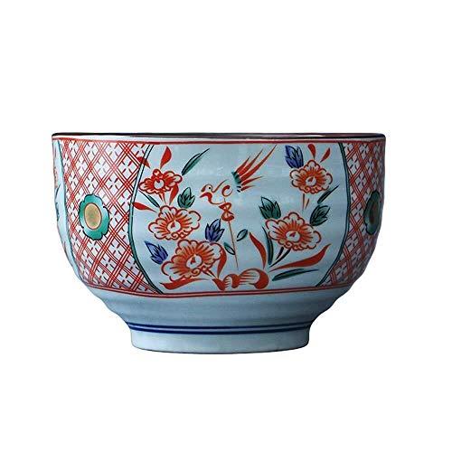 NJIUHB Schüssel, Kreative japanische Art Safflower Vogel Keramiknapf + Haushaltssuppenschüssel, Ramen, Haferbrei Schüssel, können Sie for Mikrowelle Bowl verwendet werden 6.1 * 3.9in, 1000ml