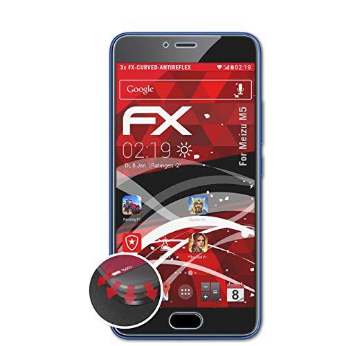 atFolix Schutzfolie kompatibel mit Meizu M5 Folie, entspiegelnde & Flexible FX Bildschirmschutzfolie (3X)