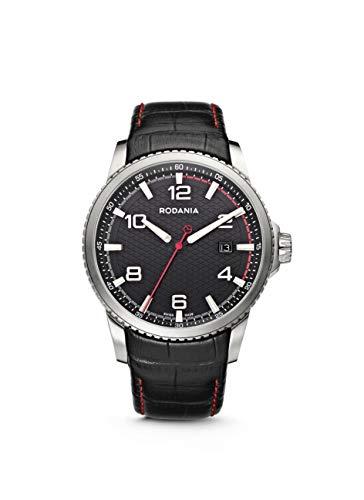Rodania 25055–26–Uhr für Männer, Lederband schwarz
