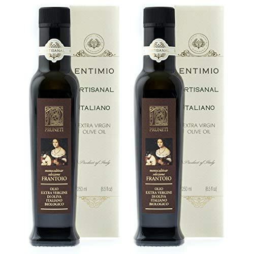 Entimio Pruneti | Delicate Organic Olive Oil Extra Virgin | 2019 Harvest Italian Olive Oil, Italy, Tuscany, Award-Winning | Early-Harvest, High Polyphenol, Keto Friendly | 16.9 (2 x 8.5) fl oz