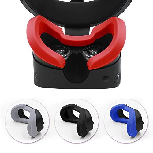 AMVR VR - Funda facial protectora de silicona y almohadilla de lente VR para auriculares Oculus Rift S a prueba de sudor, impermeables, antisuciedad, accesorios de repuesto (rojo)