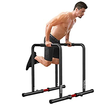 Yoleo Adjustable Dip Bar- 500lbs Dip Station Portable Functional Fitness Bar with Safety Connector Heavy Duty Dip Stand Body Press Bar Parallette Exercise Bar Workout Equalizer for Calisthenics