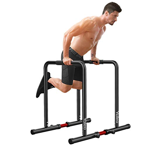 YOLEO Adjustable Dip Bar- 500lbs Dip Station Portable Functional Fitness Bar with Safety Connector, Heavy Duty Dip Stand Body Press Bar Parallette Exercise Bar Workout Equalizer for Calisthenics-Black