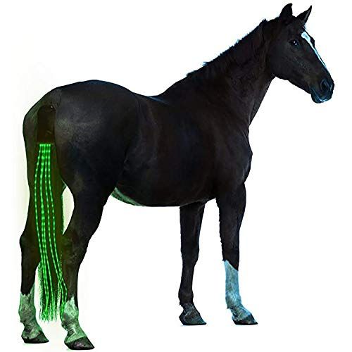 JOMOT 40Inch Horse Tail USB Coda Luci LED Addebitabile Sottocoda Cablaggio Cavallo Equestre Sport E Le Luci Horse,Verde