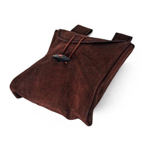 Dünne Ledertasche Gürteltasche aus Wildleder Mittel Schwarz oder Braun handgefertigt (Braun)