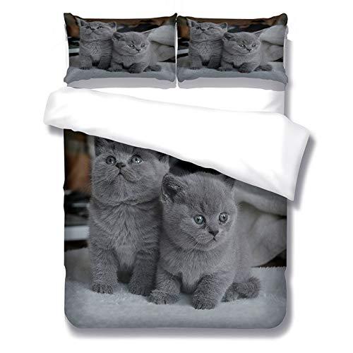 Juego de Cama de Gato Black Cat Twin 3D Edredón de algodón Funda de edredón Funda de Almohada Juego de Cama con patrón de Animales de Dibujos Animados(Gato 4)