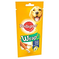 Pedigree Wrap dog treats are a chewy, tasty, daily treat for your four legged friend, an optimum choice for training and rewarding Each chew comes loaded with delicious chicken flavour, high levels of protein (80 Percent) and chopped rawhide to keep ...