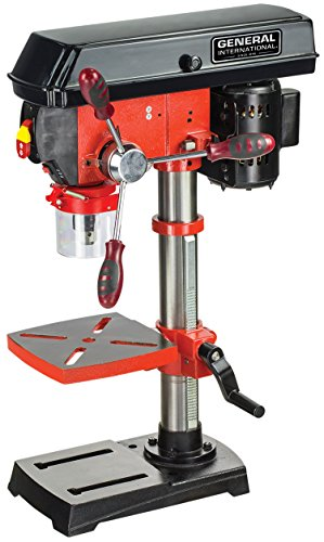 "GENERAL INTERNATIONAL 10"" Bench Mount Drill Press - 5 Speed Benchtop Drilling Machine with LED Worklight & Laser Alignment System - DP2002"