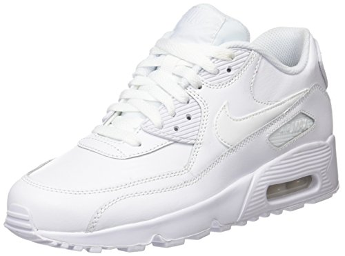 Nike Air MAX 90 Leather, Zapatillas para Niños, Blanco (White/White 100), 37.5 EU