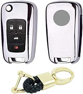 Royalfox(TM) 2 3 4 5 Buttons TPU flip Remote Key Fob case Cover for Chevrolet Camaro Cruze Equinox Malibu SS Sonic Spark Volt Aveo Epica SAIL 3,Buick Lacrosse Encore GL8 Regal Excelle (Silver)