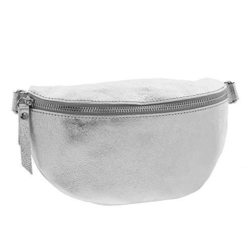 IO.IO.MIO echt Leder Bauchtasche Damen Hüfttasche Gürteltasche Crossbody Bag Frauen Ledertasche (Silber)