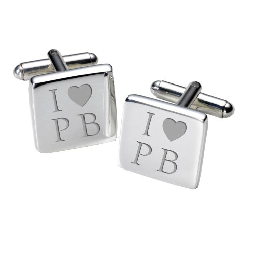 A2wit010-i Love... cufflinks-personalised-mens-gift-engraved – square-birthday-fathers day-christmas-wedding