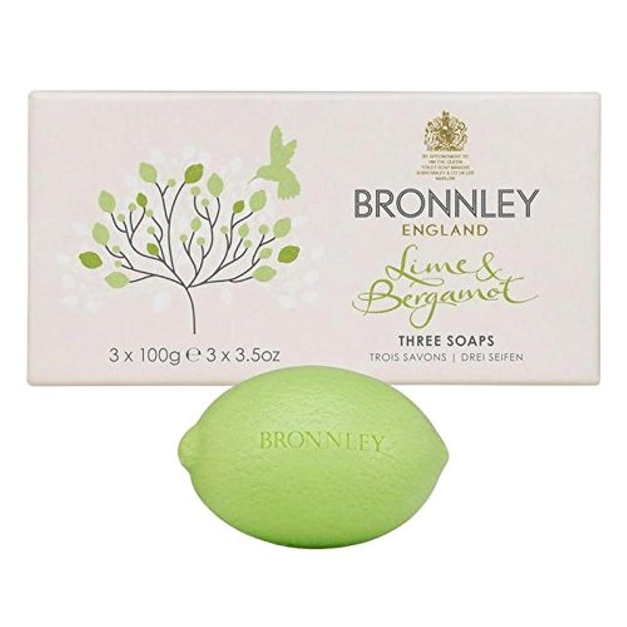 平和なステージ代表ライム&ベルガモット石鹸3×100グラム x2 - Bronnley Lime & Bergamot Soap 3 x 100g (Pack of 2) [並行輸入品]