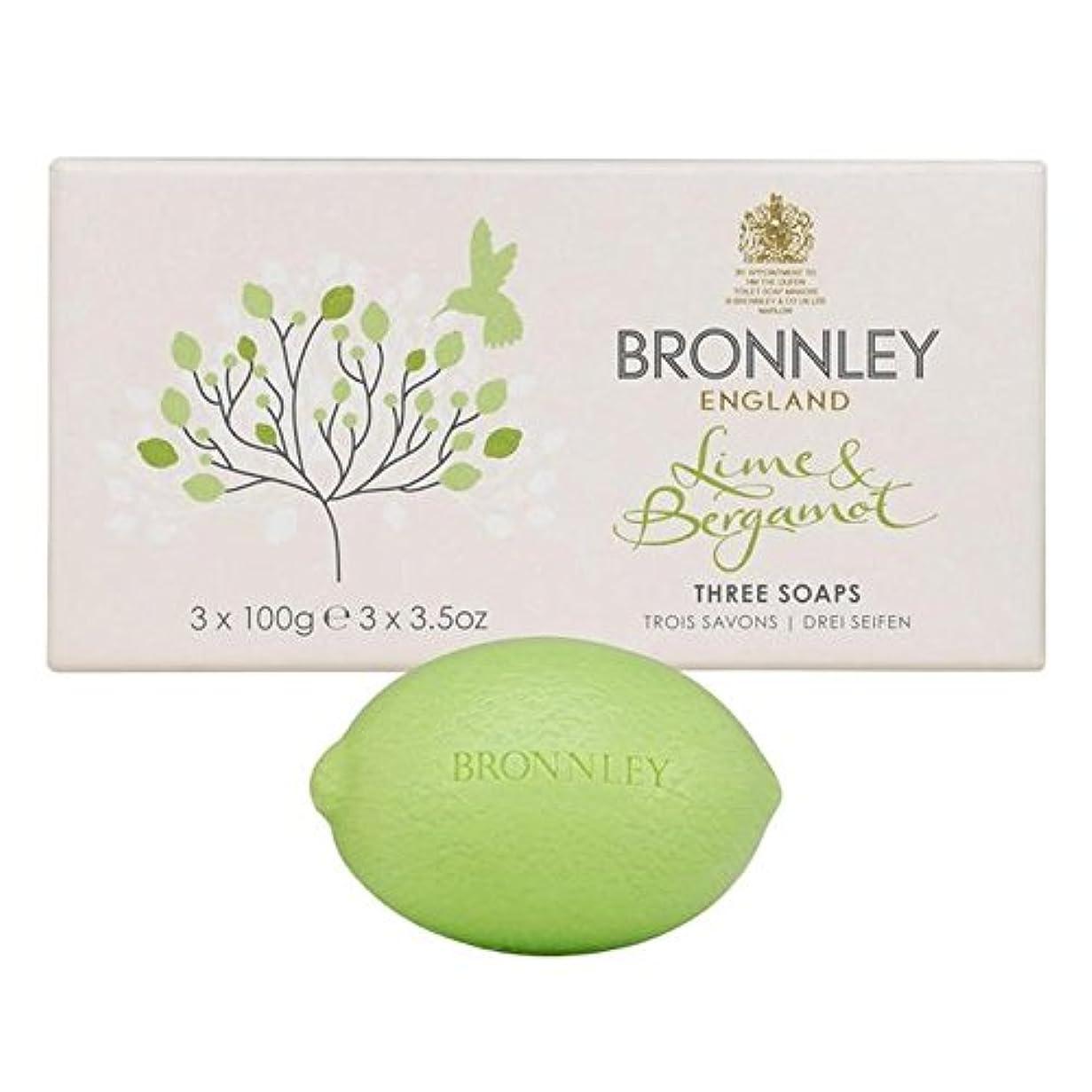 乱闘湾囲まれたBronnley Lime & Bergamot Soap 3 x 100g - ライム&ベルガモット石鹸3×100グラム [並行輸入品]
