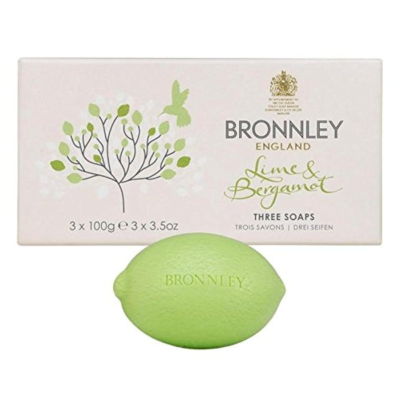 下位タイピストハンカチライム&ベルガモット石鹸3×100グラム x2 - Bronnley Lime & Bergamot Soap 3 x 100g (Pack of 2) [並行輸入品]