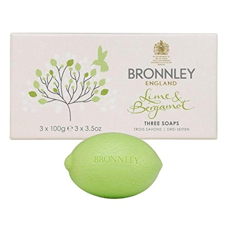 侮辱時折無人ライム&ベルガモット石鹸3×100グラム x2 - Bronnley Lime & Bergamot Soap 3 x 100g (Pack of 2) [並行輸入品]