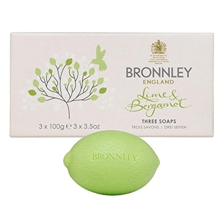 スタック魅了する作曲するライム&ベルガモット石鹸3×100グラム x2 - Bronnley Lime & Bergamot Soap 3 x 100g (Pack of 2) [並行輸入品]