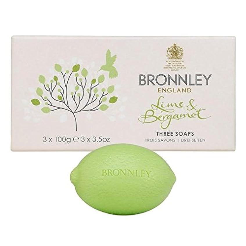 荒涼としたサイレン黙認するライム&ベルガモット石鹸3×100グラム x2 - Bronnley Lime & Bergamot Soap 3 x 100g (Pack of 2) [並行輸入品]