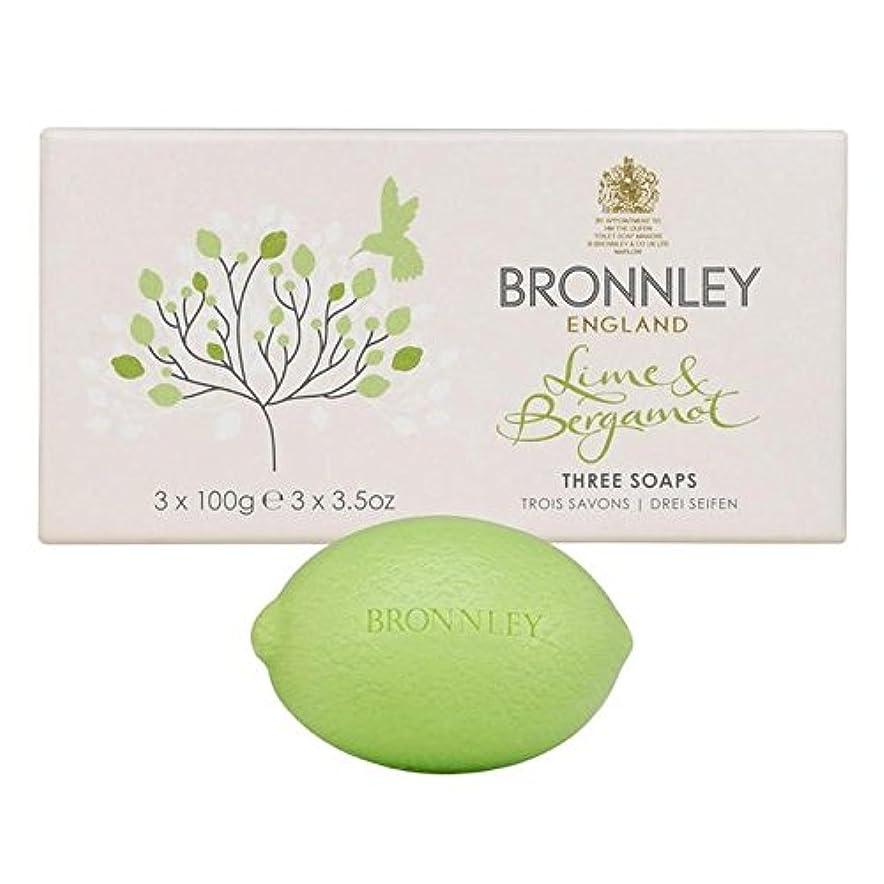 ベリーにじみ出る硬さライム&ベルガモット石鹸3×100グラム x4 - Bronnley Lime & Bergamot Soap 3 x 100g (Pack of 4) [並行輸入品]