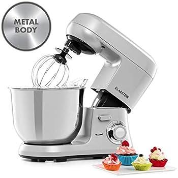 Klarstein Bella Robusta Metal - robot de cocina, carcasa de fundida a presión, cuenco de acero de