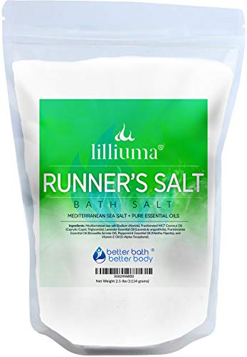New Runner's Bath Soak 40 Ounces Mediterranean Sea Salt with Lavender, Frankincense, and Peppermint Essential Oils, High-Quality Natural Ingredients
