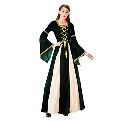 Amosfun Vintage Vrouwen Lange Middeleeuwse Jurk Halloween Queen Cosplay Kostuum Balkon M Groen