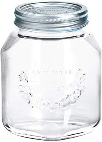 Leifheit Einkochglas 1 L, formschönes Einmachglas mit Deckel und Ring, Einmachglas mit 1 Liter Volumen, platzsparendes Vorratsglas mit Sonderform