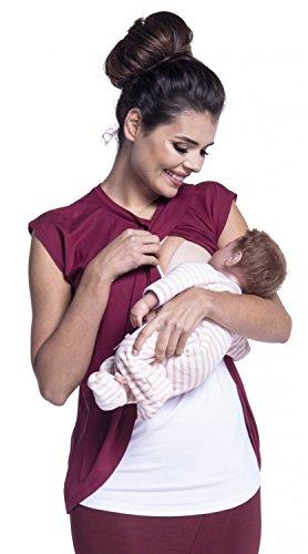 Zeta Ville - Premamá Top de Lactancia Efecto 2 en 1 Cruzado - para Mujer - 448c (Carmesí, EU 40, L)
