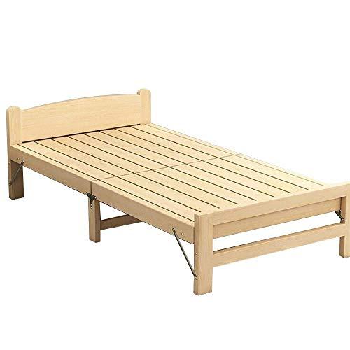 N/Z Tägliche Ausrüstung Tragbares Einzelschlafbett Einfaches Siestabett Holzklappbett Langlebig für Innenbüro Balkon Terrasse Gartenstrand im Freien (Farbe: Beige Größe: 100CM)