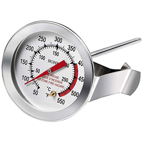 "12"" Deep Turkey Frying Thermometer With 2"" Dial and Extra Long Stainless Steel Probe For Outdoor BBQ Grill Pot Pan Kettle 50℉-550℉"