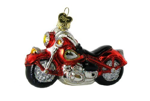 Old World Christmas Planes, Trains, Helicopters, Boats and Trucks Glass Blown Ornaments for Christmas Tree Motorcycle