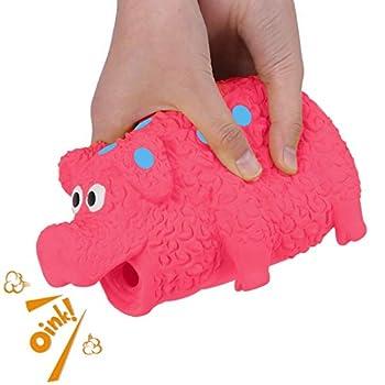 G.C Jouet à Couinement Mâcher Chien Porc Indestructible Interactif Brosse a Dent pour Moyenne Grande Animal de Compagnie (Rouge, À Pois)