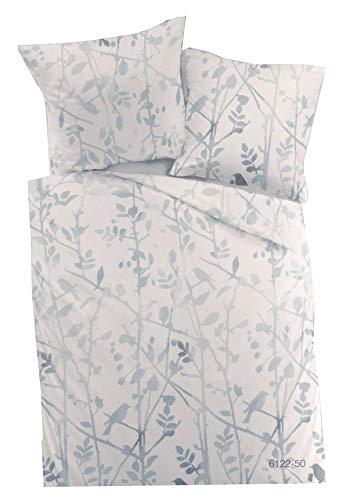 Dormisette Fein Biber Bettwäsche Set Baumwolle 135 x 200 + 80 x 80 Vögel Blau Weiß