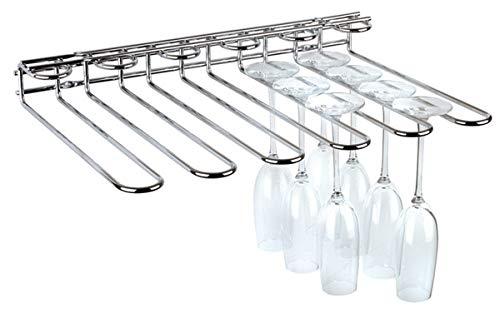 APS Rack de copas - 45 x 32 x 6 cm, porta copas de alta calidad de metal cromado, porta vasos de vino, para 20 copas, rack de copas para el bar de casa, la cocina, el pub, el restaurante etc.