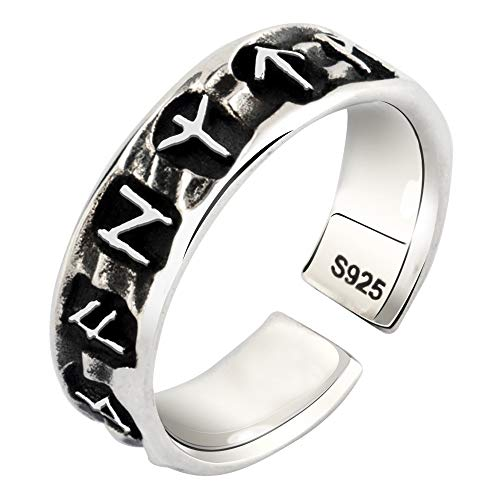FORFOX Vintage 925 Sterling Silver Nordic Viking Celtic Rune Ring for Men Women Adjustable Size N 1/2-P