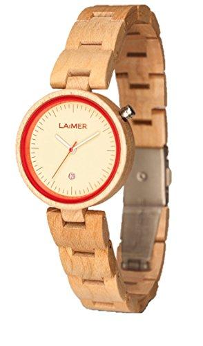 LAiMER Damen-Armbanduhr NICKY BLAU Mod. 0055 aus Ahornholz - Analoge Quarzuhr mit hellem Holzarmband