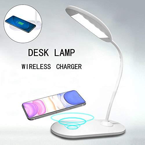 Lámpara de escritorio LED con cargador inalámbrico 3 modos de iluminación Control táctil Lámpara de mesa regulable para dormitorio de estudio de oficina