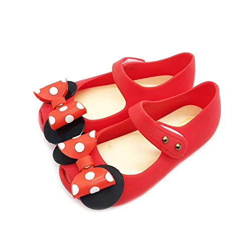 Girls Sweet Mary Jane Flat Princess Sandals Jelly Shoes Toddler Kids Bow Tie with Dots Holiday Christmas Red