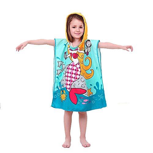 Vston Handtuch für Kinder, aus Baumwolle, mit Kapuze, für Bad, Schwimmen, Strand, Urlaub, weich, leicht, für Jungen und Mädchen. Gr. One Size, Blue-mermaid