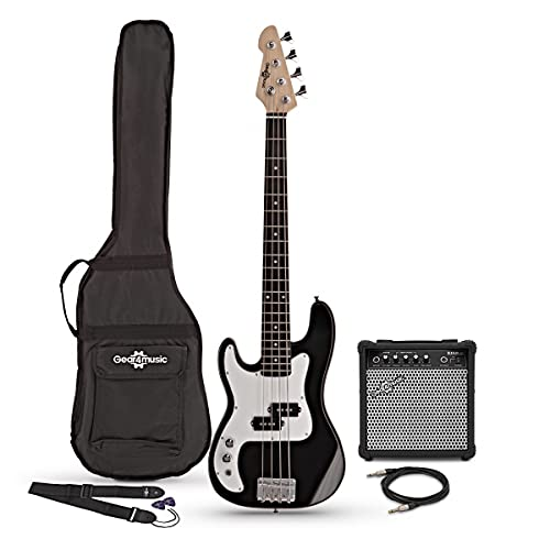 3/4 Left Handed Bass Guitar LA by Gear4music Black with 15W Amp