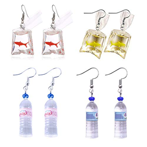 PPX 4 Pairs Funny Acrylic Goldfish and Water Bottle Pendant Earrings, Water Bag Shape Dangle Hook Earrings for Girls Women Bohemian Creative Unique