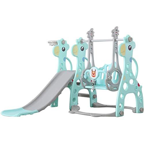 Muyuuu Juguete Combinado de Columpio y tobogán para niños, Juego de tobogán de Escalador Combinado de Juguete Grande, Columpio y tobogán para niños pequeños, paraíso Familiar Interior (Color : Blue)