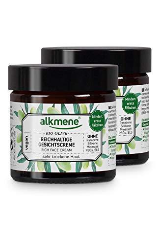 alkmene Gesichtscreme mit Bio Olive - Reichhaltige Tagescreme für sehr trockene Haut - vegane Gesichtscreme ohne Silikone, Parabene, Mineralöl, PEGs, SLS & SLES im 2er Pack (2x 50 ml)