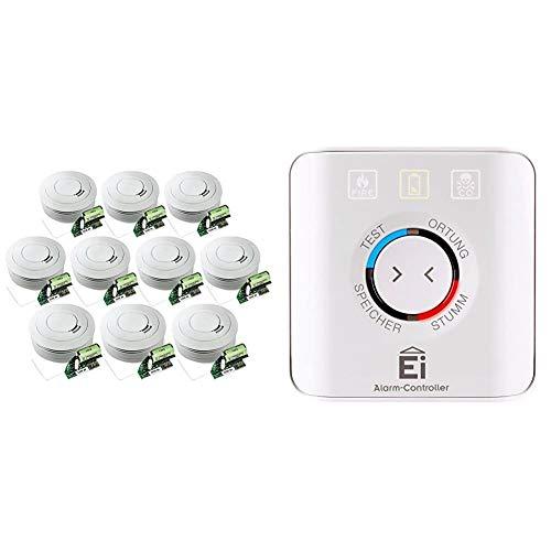 Ei Electronics Ei650RF 10-Jahres-Funkrauchwarnmelder, weiß, 10 Stück + Einknopf-Fernbedienung für Rauchwarnmelder, Ei450