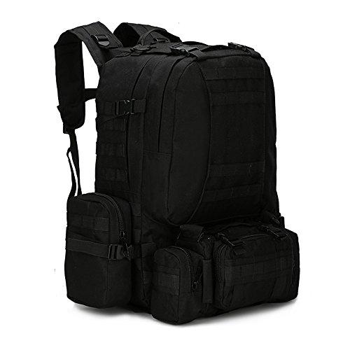 Dohot Grand sac à dos imperméable Molle de style militaire pour randonnée, camping, 60 L, noir