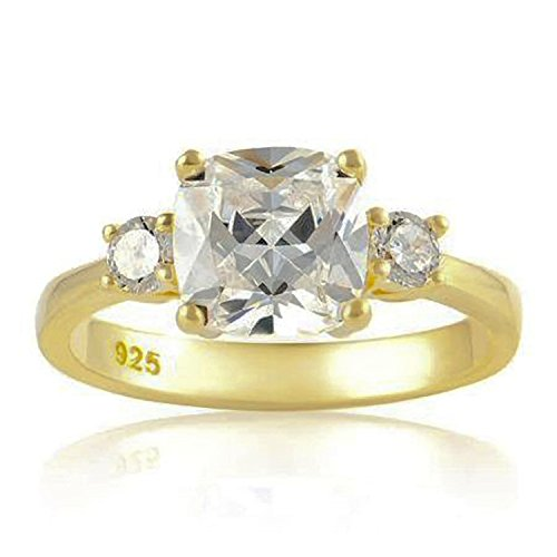 WOMENS Diamond Cubic Zirconia (CZ) Engagement Ring - Replica Duchess Meghan Markle Ring - 925 Sterling Silver With Gold Plating - Size S