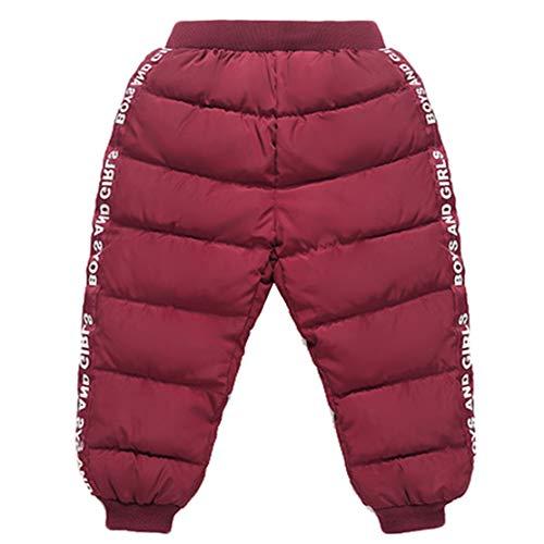 Gaga city Kinder Winterhose Warme Hose Jungen Mädchen Schneehose Baby Hose Thermo Winddicht Mode Daunenhose High Waist Rot/80cm