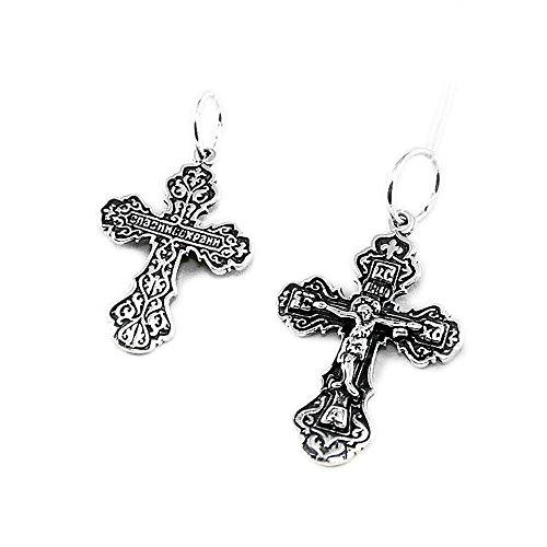 NKlaus croix croix crucifix en argent 925 argent sterling pendentif orthodoxe baptême russe k101