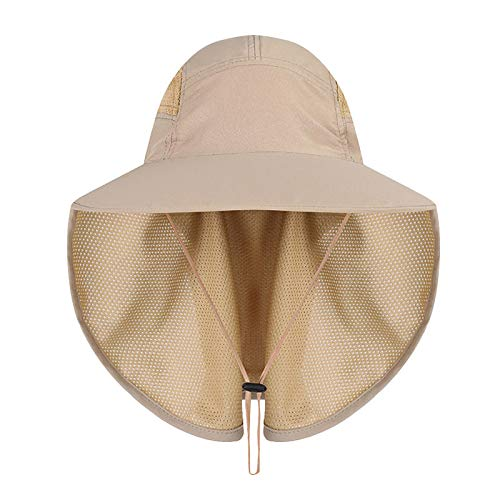 JANGANNSA Outdoor Sun Hat Men Women Flap Fishing Hat Neck Face Cover Mesh Bucket Hat UPF 50+ (Beige)